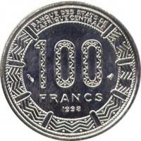 reverse of 100 Francs (1992 - 2003) coin with KM# 13 from Central Africa (BEAC). Inscription: BANQUE DES ETATS DE L'AFRIQUE CENTRALE 100 FRANCS 1998
