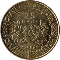 obverse of 25 Francs (2006) coin with KM# 20 from Central Africa (BEAC). Inscription: CEMAC 25 FRANCS 2006