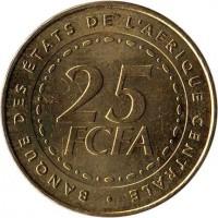 reverse of 25 Francs (2006) coin with KM# 20 from Central Africa (BEAC). Inscription: BANQUE DES ETATS DE L'AFRIQUE CENTRALE 25 FCFA