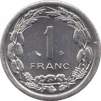 reverse of 1 Franc (1974 - 2003) coin with KM# 8 from Central Africa (BEAC). Inscription: 1 FRANC