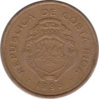 obverse of 5 Colones (1995) coin with KM# 227 from Costa Rica. Inscription: REPUBLICA DE COSTA RICA · 1995 ·
