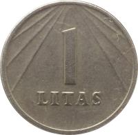 reverse of 1 Litas (1991) coin with KM# 91 from Lithuania. Inscription: 1 LITAS