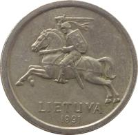 obverse of 1 Litas (1991) coin with KM# 91 from Lithuania. Inscription: LIETUVA 1991