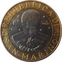 obverse of 1000 Lire (1999) coin with KM# 395 from San Marino. Inscription: REPUBBLICA DI SAN MARINO
