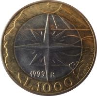 reverse of 1000 Lire (1999) coin with KM# 395 from San Marino. Inscription: 1999 R L 1000