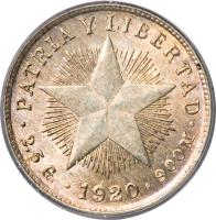 reverse of 10 Centavos (1915 - 1949) coin with KM# A12 from Cuba. Inscription: PATRIA Y LIBERTAD · 2.5G · 1915 · 900M ·