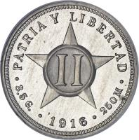 reverse of 2 Centavos (1915 - 1916) coin with KM# A10 from Cuba. Inscription: PATRIA Y LIBERTAD II · 3.5 G. · 1915 · 250 M ·