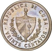 obverse of 20 Centavos (1915 - 1949) coin with KM# 13 from Cuba. Inscription: REPUBLICA DE CUBA · VEINTE CENTAVOS ·
