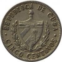 obverse of 5 Centavos (1915 - 1961) coin with KM# 11 from Cuba. Inscription: REPUBLICA DE CUBA · CINCO CENTAVOS ·