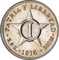 reverse of 1 Centavo (1915 - 1961) coin with KM# 9 from Cuba. Inscription: PATRIA Y LIBERTAD . 2.5 g . 1915 . 250M .