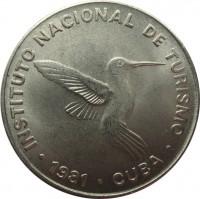 obverse of 10 Centavos - INTUR (1981) coin with KM# 415 from Cuba. Inscription: INSTITUTO NACIONAL DE TURISMO · 1981 · CUBA ·