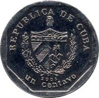 obverse of 1 Centavo (2000 - 2007) coin with KM# 733 from Cuba. Inscription: REPUBLICA DE CUBA 2002 un centavo