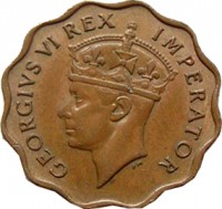 obverse of 1 Piastre - George VI (1942 - 1946) coin with KM# 23a from Cyprus. Inscription: GEORGIVS VI REX IMPERATOR