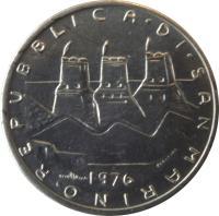 obverse of 5 Lire - FAO (1976) coin with KM# 53 from San Marino. Inscription: REPUBBLICA DI SAN MARINO 1976