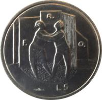 reverse of 5 Lire - FAO (1976) coin with KM# 53 from San Marino.