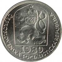 obverse of 5 Haléřů (1977 - 1990) coin with KM# 86 from Czechoslovakia. Inscription: 1989 ČESKOSLOVENSKÁ SOCIALISTICKÁ REPUBLIKA