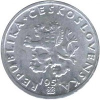 obverse of 20 Haléřů (1951 - 1952) coin with KM# 31 from Czechoslovakia. Inscription: REPUBLIKA + ČESKOSLOVENSKÁ 1951