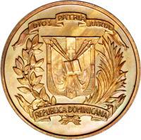 obverse of 1 Centavo (1937 - 1961) coin with KM# 17 from Dominican Republic. Inscription: DIOS PATRIA LIBERTAD REPUBLICA DOMINICANA