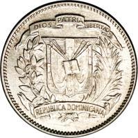 obverse of 5 Centavos (1937 - 1974) coin with KM# 18 from Dominican Republic. Inscription: DIOS PATRIA LIBERTAD REPUBLICA DOMINICANA