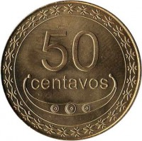 reverse of 50 Centavos (2003 - 2012) coin with KM# 5 from East Timor. Inscription: 50 CENTAVOS