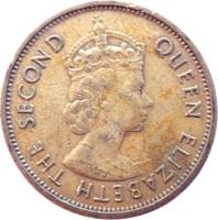 obverse of 5 Cents - Elizabeth II - 1'st Portrait (1955 - 1965) coin with KM# 4 from Eastern Caribbean States. Inscription: QUEEN ELIZABETH THE SECOND