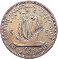 reverse of 5 Cents - Elizabeth II - 1'st Portrait (1955 - 1965) coin with KM# 4 from Eastern Caribbean States. Inscription: BRITISH CARIBBEAN TERRITORIES FIVE CENTS 5 5 1965 · EASTERN GROUP ·
