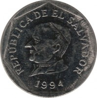 obverse of 25 Centavos (1993 - 1999) coin with KM# 157b from El Salvador. Inscription: REPÚBLICA DE EL SALVADOR 1994