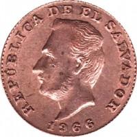 obverse of 1 Centavo (1942 - 1972) coin with KM# 135.1 from El Salvador. Inscription: REPÚBLICA DE EL SALVADOR 1966