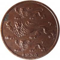 obverse of 2 Senti (1934) coin with KM# 15 from Estonia. Inscription: 1934