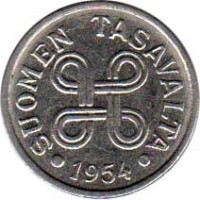 obverse of 5 Markkaa (1953 - 1962) coin with KM# 37a from Finland. Inscription: SUOMEN TASAVALTA 1954