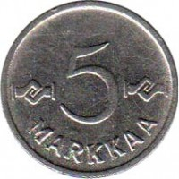 reverse of 5 Markkaa (1953 - 1962) coin with KM# 37a from Finland. Inscription: 5 MARKKAA