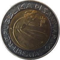obverse of 500 Lire - Redemption from drugs (1985) coin with KM# 181 from San Marino. Inscription: REPUBBLICA DI SAN MARINO -LIBERTAS-