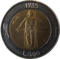 reverse of 500 Lire - Redemption from drugs (1985) coin with KM# 181 from San Marino. Inscription: 1985 L.500 R