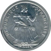 obverse of 1 Franc (1965) coin with KM# 2 from French Polynesia. Inscription: REPUBLIQUE FRANCAISE 1965 G.B.BAZOR