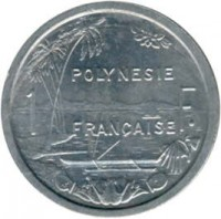 reverse of 1 Franc (1965) coin with KM# 2 from French Polynesia. Inscription: POLYNESIE FRANCAISE