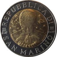 obverse of 500 Lire - Hegel (1996) coin with KM# 357 from San Marino. Inscription: REPUBBLICA DI SAN MARINO