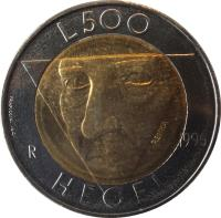reverse of 500 Lire - Hegel (1996) coin with KM# 357 from San Marino. Inscription: L.500 R 1996 HEGEL Frapiccini inc