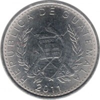 obverse of 5 Centavos - Magnetic (2009 - 2011) coin with KM# 276.6 from Guatemala. Inscription: REPUBLICA DE GUATEMALA 2011