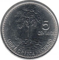 reverse of 5 Centavos - Magnetic (2009 - 2011) coin with KM# 276.6 from Guatemala. Inscription: 5 CENTAVOS LIBRE CREZCA FECUNDO