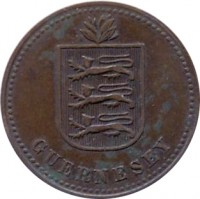 obverse of 4 Doubles - George V / George VI (1914 - 1949) coin with KM# 13 from Guernsey. Inscription: GUERNESEY
