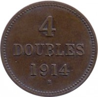 reverse of 4 Doubles - George V / George VI (1914 - 1949) coin with KM# 13 from Guernsey. Inscription: 4 DOUBLES 1914 H