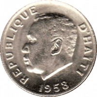 obverse of 5 Centimes (1958 - 1970) coin with KM# 62 from Haiti. Inscription: REPUBLIQUE D'HAITI 1958
