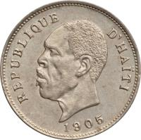 obverse of 5 Centimes (1904 - 1905) coin with KM# 53 from Haiti.