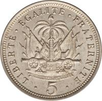 reverse of 5 Centimes (1904 - 1905) coin with KM# 53 from Haiti.