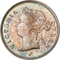 obverse of 5 Cents - Victoria (1866 - 1901) coin with KM# 5 from Hong Kong. Inscription: VICTORIA QUEEN