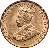 obverse of 1 Cent - George V - Smaller (1931 - 1934) coin with KM# 17 from Hong Kong. Inscription: GEORGE V KING AND EMPEROR OF INDIA