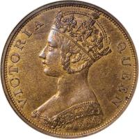 obverse of 1 Cent - Victoria (1863 - 1901) coin with KM# 4 from Hong Kong. Inscription: VICTORIA QUEEN