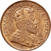 obverse of 1 Cent - Edward VII (1902 - 1905) coin with KM# 11 from Hong Kong. Inscription: EDWARD VII KING & EMPEROR