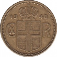 obverse of 2 Krónur - Christian X (1925 - 1940) coin with KM# 4 from Iceland. Inscription: 19 40 CX R.
