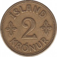reverse of 2 Krónur - Christian X (1925 - 1940) coin with KM# 4 from Iceland. Inscription: ISLAND 2 KRONUR